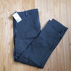 Black and white striped dress pants